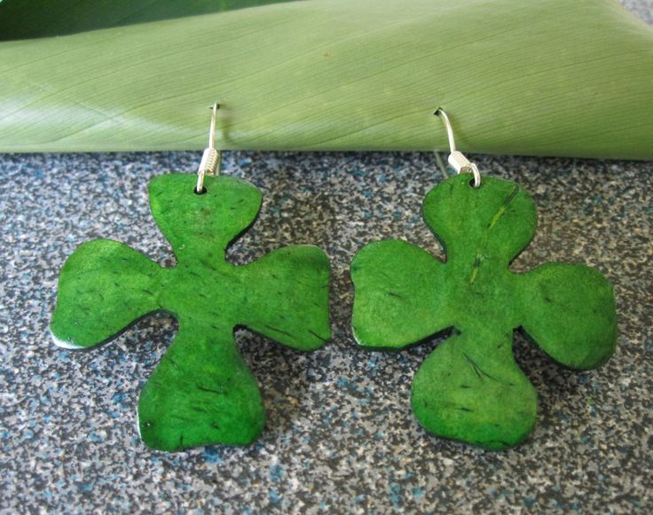 Accessories : Four Leaf Clover Coconut Earrings