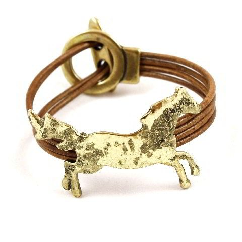 4 Strand leather Running Horse Bracelet - Gold