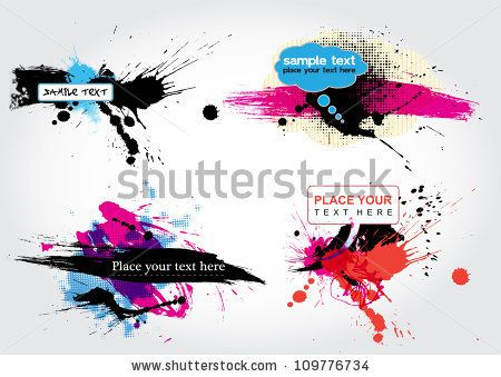 vector stain banners - stock vector