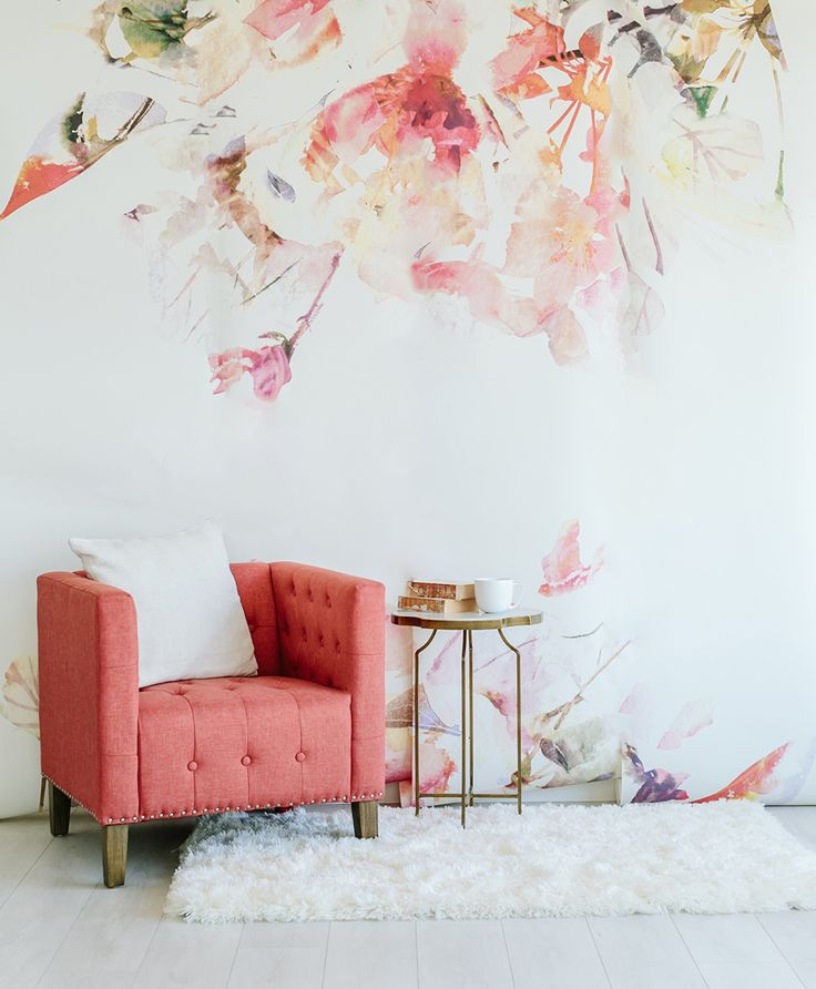 Spring Floral Mural // Would LOVE a huge, floral piece in the same color scheme as a chair, just like this.