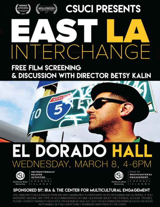 "CI will be doing a free film screening of ""East LA Interchange,"" including a discussion with the directorL Betsy Kalin. This event will be in El Dorado Hall, Wednesday March 8, from 4-6pm."