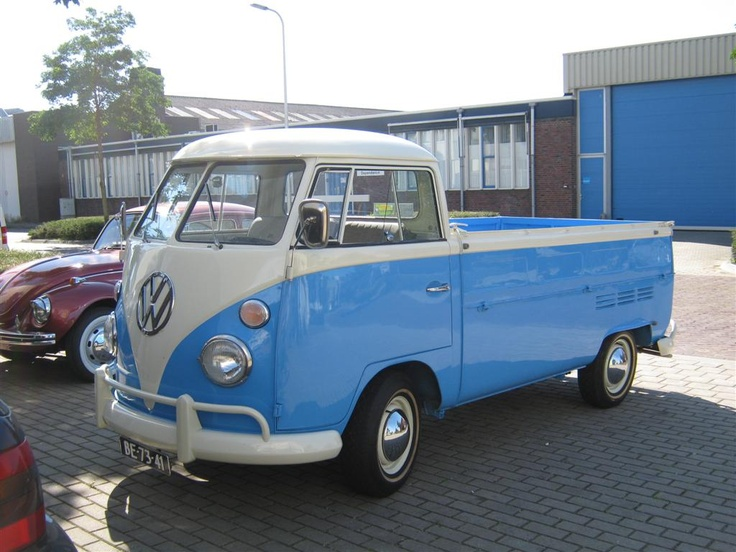 "1966 Volkswagen T2 pickup model 264 | first built in 1951 | splitting the windshield and roofline into a ""vee"" helped the production Type 2 achieve a drag coefficient of 0.44. The Transporter first generation T2 pre 1967 [mistakenly called T1]"