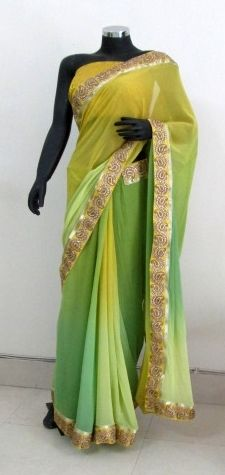 Green and Yellow shaded georgette saree