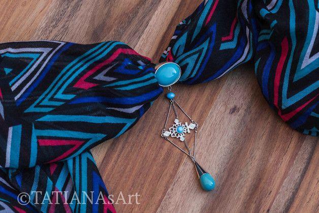 Weiteres - Schmuckanhänger für Schals oder Tuch in türkis - ein Designerstück von TATIANAsArt bei DaWanda                                      #TATIANAsArt #Halsschmuck #Handmgemachte Schmuck #Tuchanhänger #Schalanhänger
