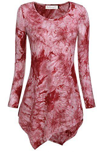 BAISHENGGT Damen Tie-Dye Langarmshirt Asymmetrisch Hem Tunika Stretch Longshirts Weinrot M