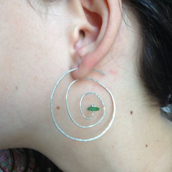 Spiral Hammered Sterling Silver And by AegeanSeaglassJewels