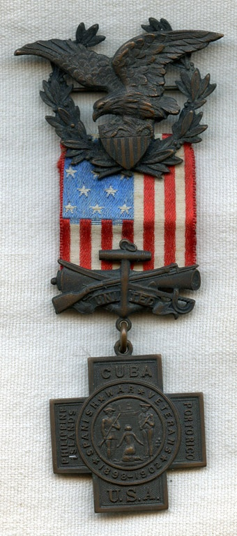 !! Early, Numbered Spanish-American War Veteran's Medal in Numbered Box