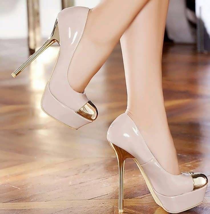 Productos despeje últimos lanzamientos Elegantes Zapatos color Champagne Taco Aguja | Zapatos en ...