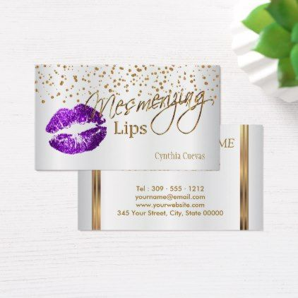 #makeupartist #businesscards - #Mesmerizing Lips  Gold Confetti & Purple Lips Business Card