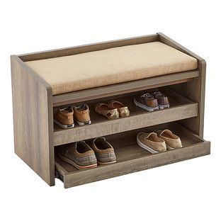 Add some more utility to your entryway with our beautiful and useful Mercer Storage Bench. This piece has a well padded cushion for you to sit down and lace up your shoes, and when your shoes and socks aren't in use, you can roll out its two shelves to store them out of sight!