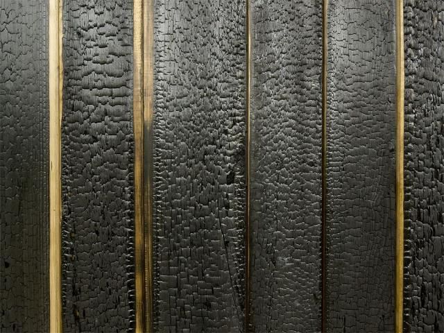 I could SO see this varnished and as a headboard!! Love the texture! (Charred and Blackened larch wood:  Gardenista)