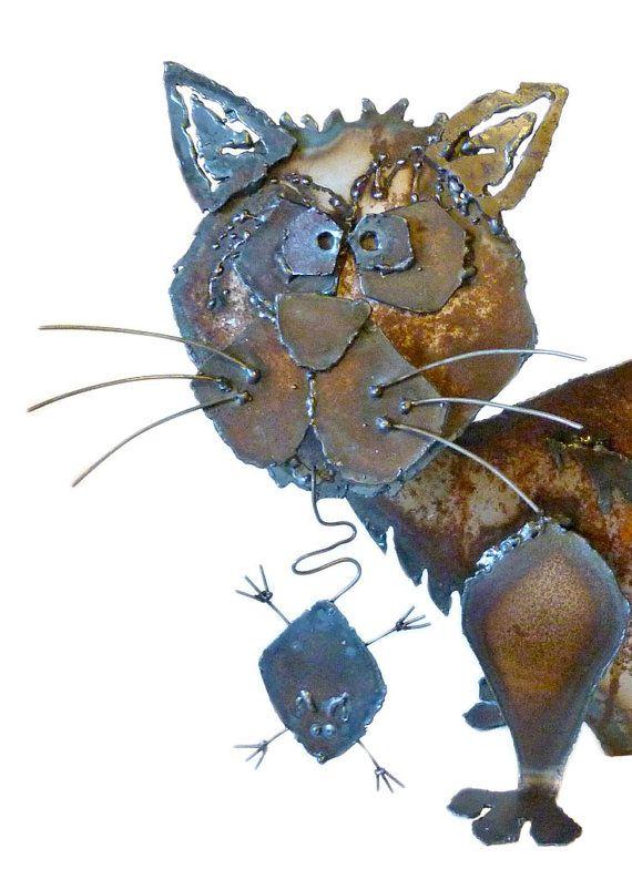 Scrappy Kitty Metal Sculpture