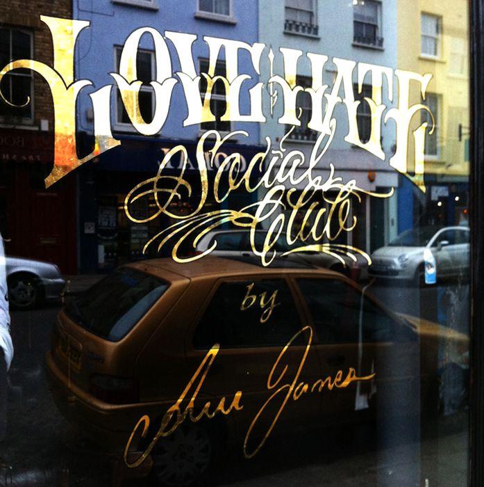 Gold leaf store front window by London sign-writer Nick Garrett (www.nickgarrettsignwriter.com), photo © Jack Hollands