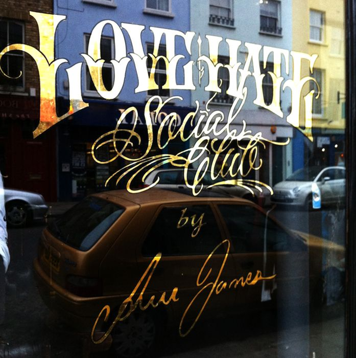 Gold leaf store front window by London sign-writer Nick Garrett (www.nickgarrettsignwriter.com), photo © Jack Hollands