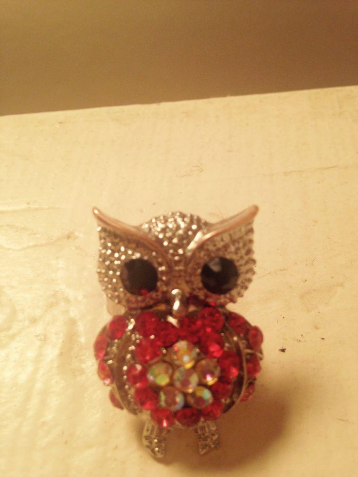 Made this owl ring. Ruby rhinestones.
