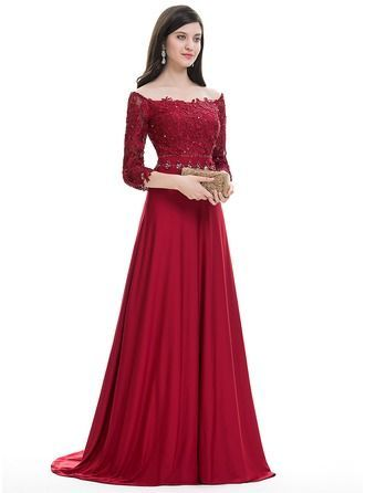 Vestidos princesa/ Formato A Off-the-ombro Sweep/Brush trem Jersey Vestido de festa com Beading lantejoulas