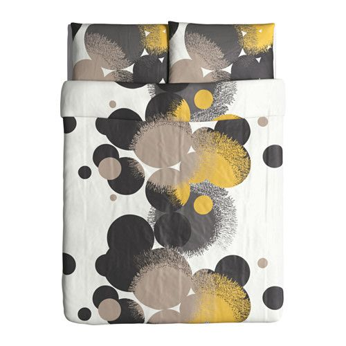 BOLLTISTEL Duvet cover and pillowcase(s), gray, yellow gray/yellow Full/Queen (Double/Queen)
