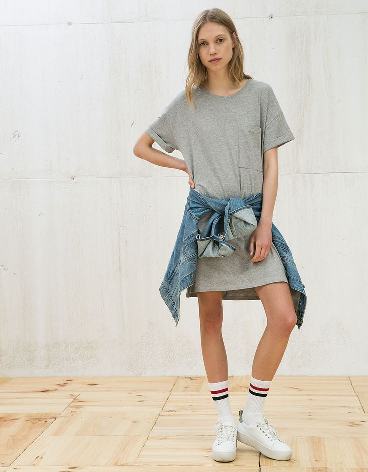 Cotton dress with front pocket. Discover this and many more items in Bershka with new products every week