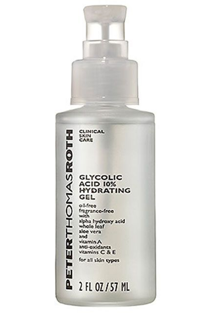"""""""I also can't go a night without Peter Thomas Roth Glycolic Acid 10% Hydrating Gel for fear that I won't wake up with baby-smooth skin in the morning.""""Peter Thomas Roth Glycolic Acid 10% Hydrating Gel, $48, available at Sephora. #refinery29 http://www.refinery29.com/best-beauty-blogger-skincare-products#slide-9"""