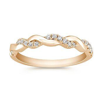 infinity diamond and 14k yellow gold wedding band - Infinity Wedding Rings