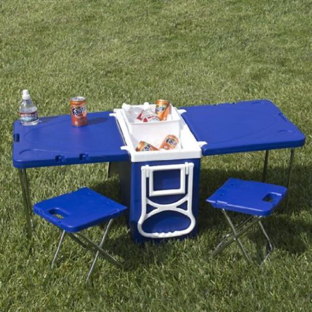 Amazon.com: Multi Function Rolling Cooler With Table And 2 Chairs Picnic Camping Outdoor
