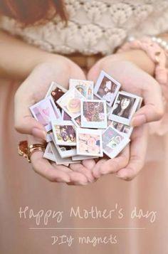 Mini Polaroid Magneten selber machen als persönliches Muttertagsgeschenk. Niedliche Idee