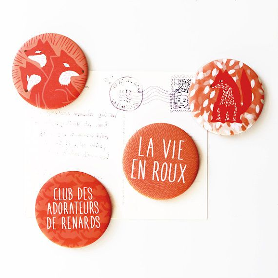 Set of 4 magnets foxes par Marion Marty for Yamok