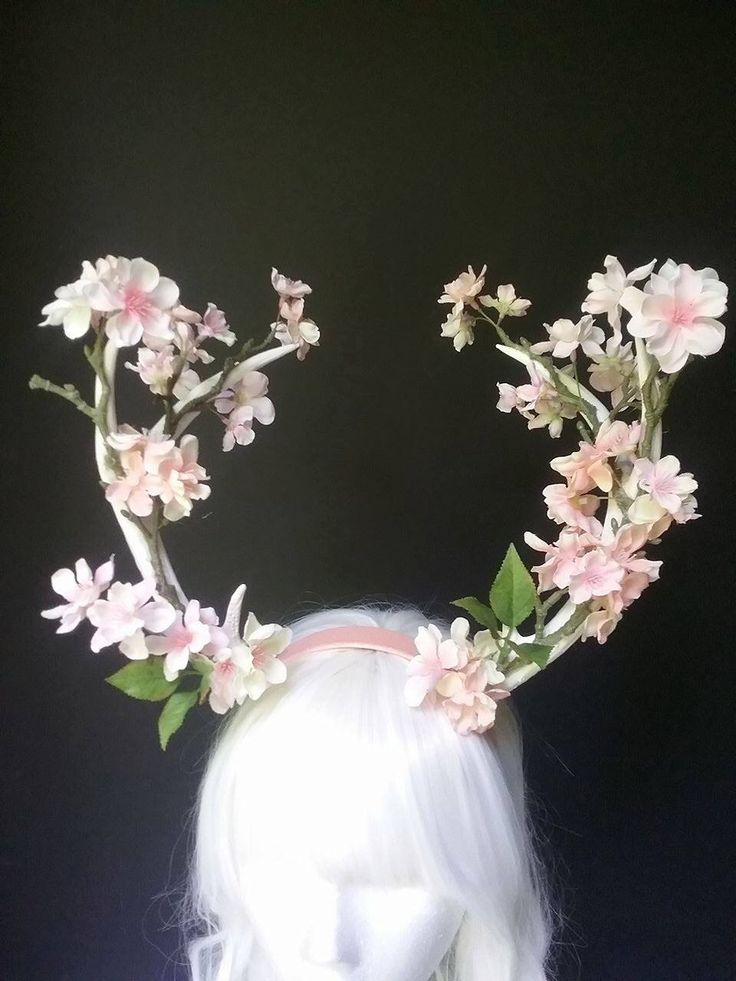 Deer antlers, antler headband, floral antler headpiece, fauna headpiece, fairy costume, costume accessories by MermaidSanctuary on Etsy https://www.etsy.com/uk/listing/385289626/deer-antlers-antler-headband-floral