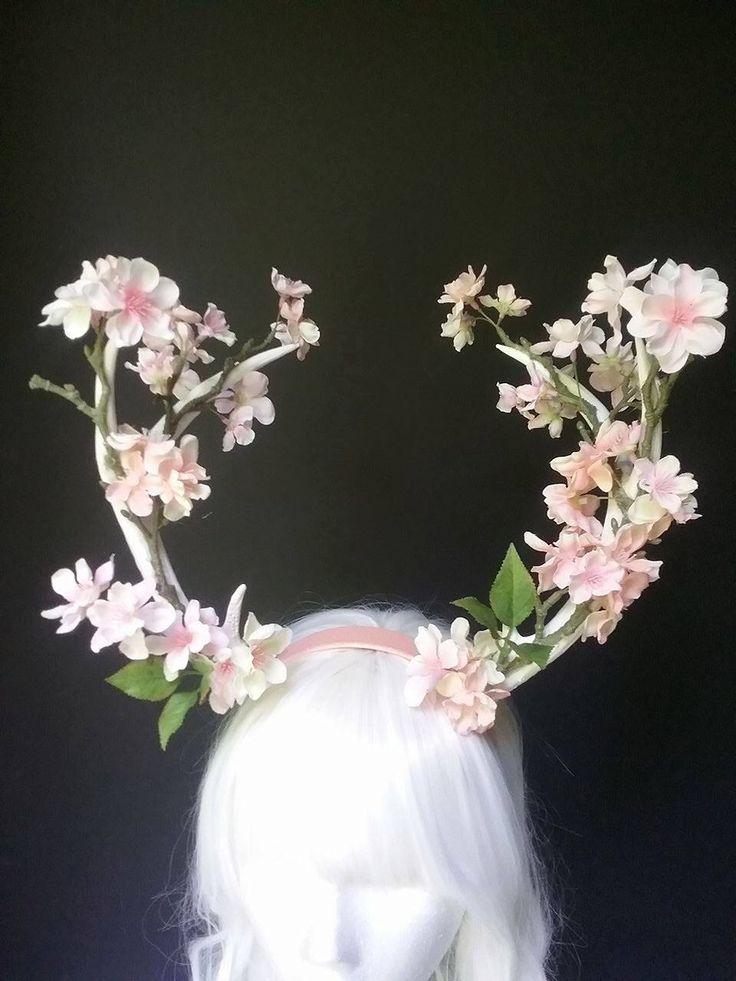 Deer antlers, antler headband, floral antler headpiece, fauna headpiece, fairy costume, costume accessories by MermaidSanctuary on Etsy https://www.etsy.com/uk/listing/385289626/deer-antlers-antler-headband-floral
