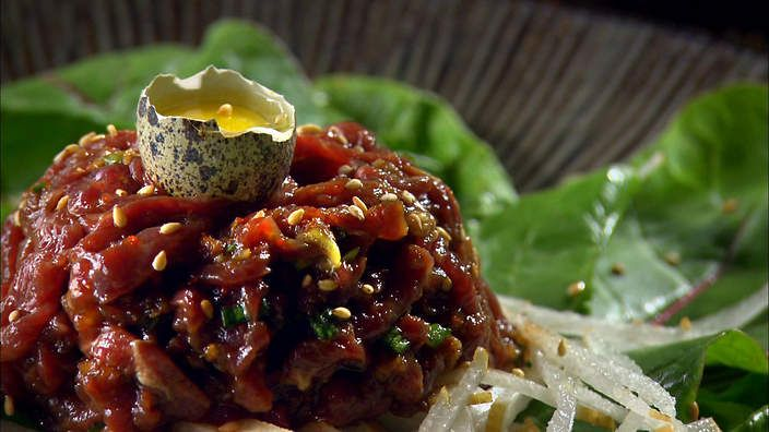 Ribbon beef tartare (yukhoe) recipe : SBS Food