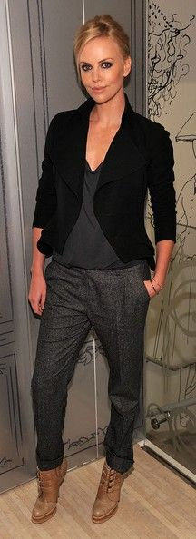 charlize theron fashion style ankle boots blazer