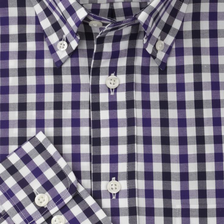Navy Purple Check Casual Shirt
