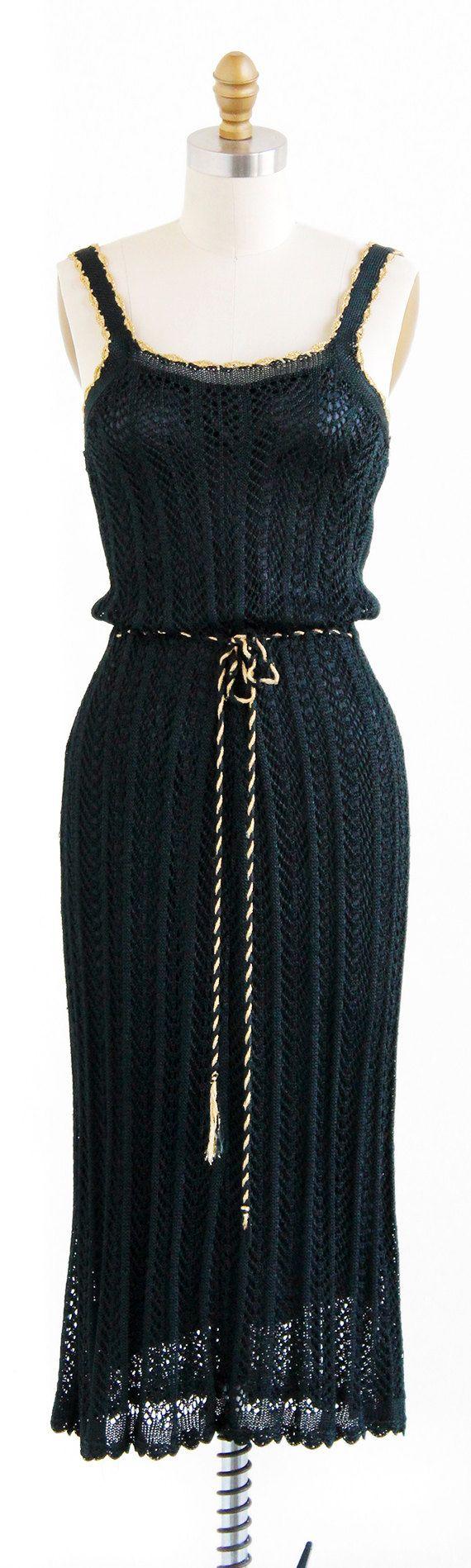 vintage 1970s slinky black + gold crocheted evening dress | http://www.rococovintage.com