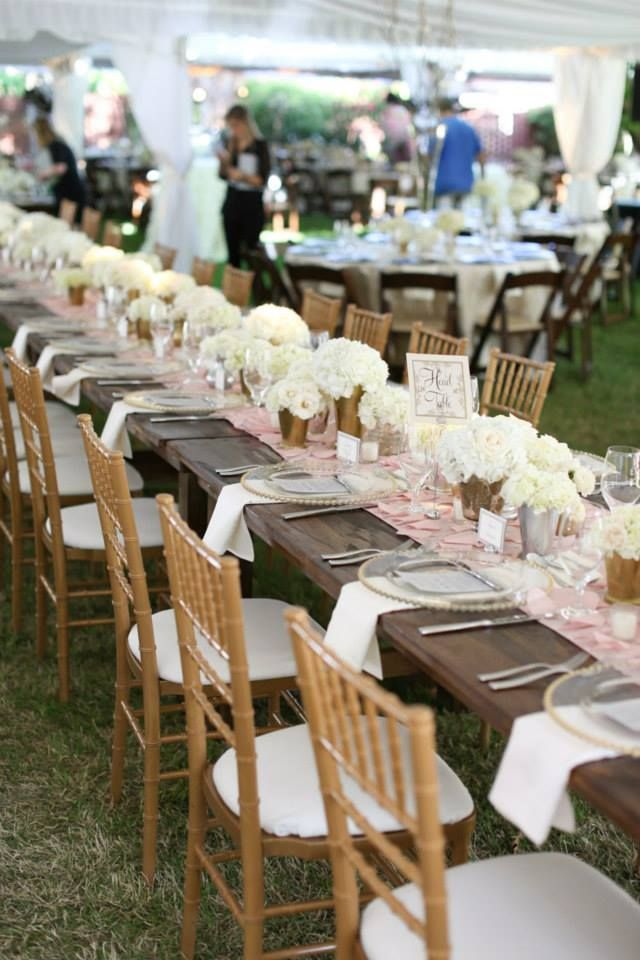 Farthing Events and Party Pro Rents  Gold Chivari Chairs Blush Petal Runner  Gold Bead Charger