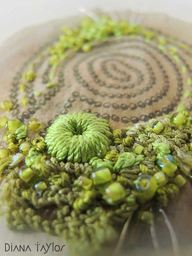 Mossy Garden embroidered teabag detail by Velvet Moth Studio
