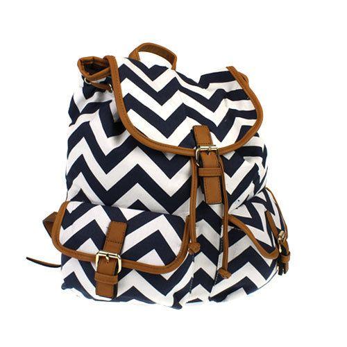 Navy Blue Chevron Backpack, Chevron Bag, Chevron Laptop Backpack, Chevron iPad Bag -- Outside Pockets -- Christmas Gift