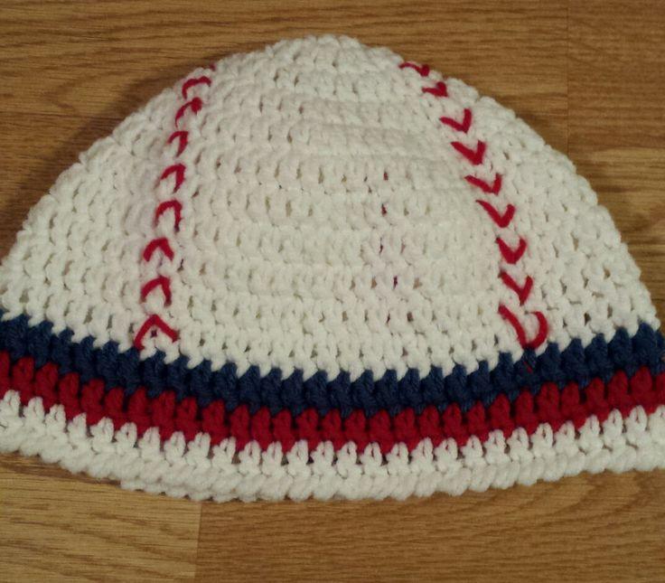 Toddler Baseball Hat, Red Baseball Beanie, Crochet Baseball Hat, Red and Blue Baseball Hat by FamilyCrochetCabinet on Etsy