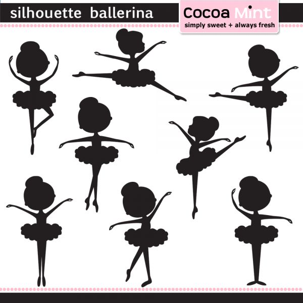 COCOA MINT Silhouette ballerina--for cupcake toppers