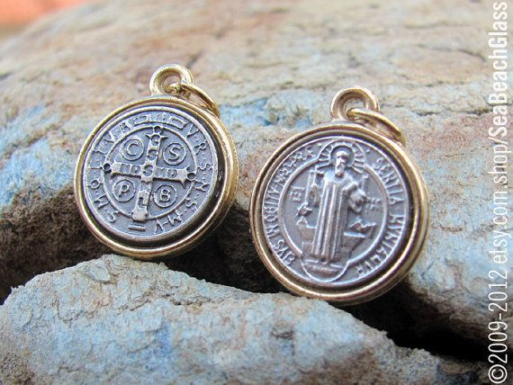 St Benedict. Saint Benedict Medal. No Chain. Silver metal with Golden Rim. Catholic Jewelry. Gift Idea. Confirmation. Baptism. (SeaBeachGlass--Etsy) (MSRP $10)