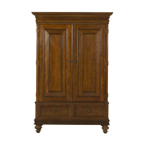 Boldly scaled and elegantly detailed, this handsome piece can be a clothing armoire or an entertainment center, or just use it as a great statement piece for storage. Full wraparound doors, ideal for TV viewing, have rich beveled panels. The optional pediment top and its carved fan motif add a rich, island vibe.