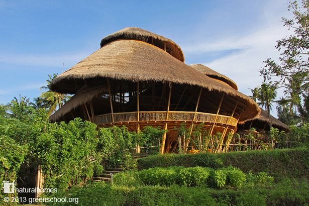 This is the Green School [www.greenschool.org] in Bali. It's a place where kids are taught about their relationship with the earth that they depend on. The school is built from bamboo. Follow the picture to www.naturalhomes.org for video and more wonderful bamboo structures.