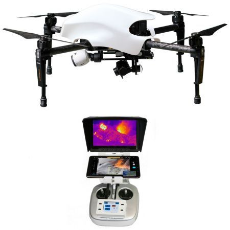 "Pachet ready-to-fly, drona DJI Matrice 100 + camera termica FLIR TAU2 640, lentile 13 mm + DVR recorder + Tableta 7"" configurata + Controler tactil LCD, T12 professional FIR – Lumea Gadgeturilor"