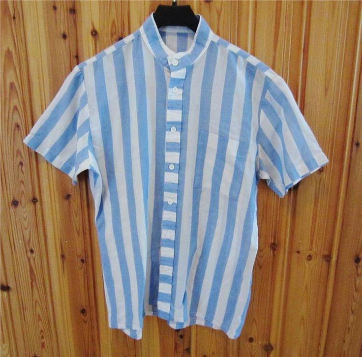 Randig blå och vit vintage blus 60-tal retro preppy på Tradera.com -
