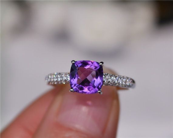 7mm+Cushion+Natural+Amethyst+Ring+Engagement+Ring/+by+CarrieStudio