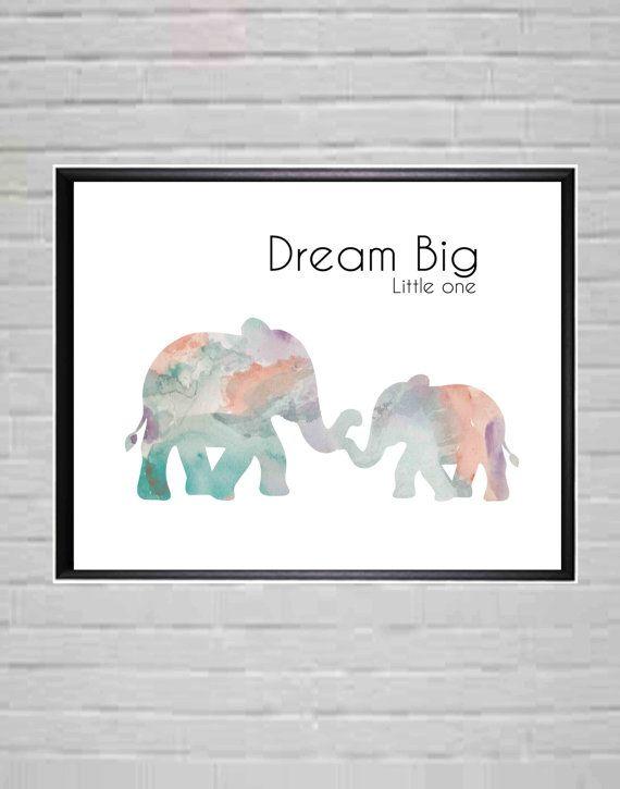 Dream Big Little One  Nursery Prints  Nursery Wall by DaniJArts