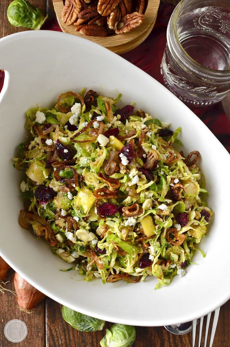 Fall Shredded Brussels Sprouts Salad is crispy and crunchy, and full of fresh and savory flavors!    iowagirleats.com
