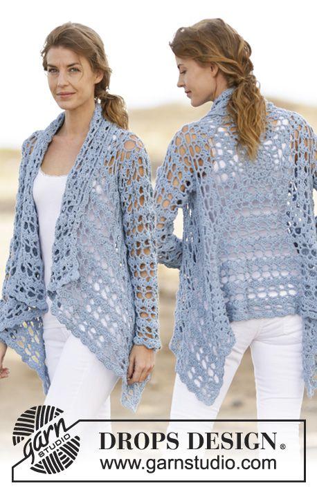 """Crochet DROPS jacket with lace pattern in """"Paris"""". Size: S - XXXL. ~ DROPS Design༺✿ƬⱤღ http://www.pinterest.com/teretegui/✿༻"""