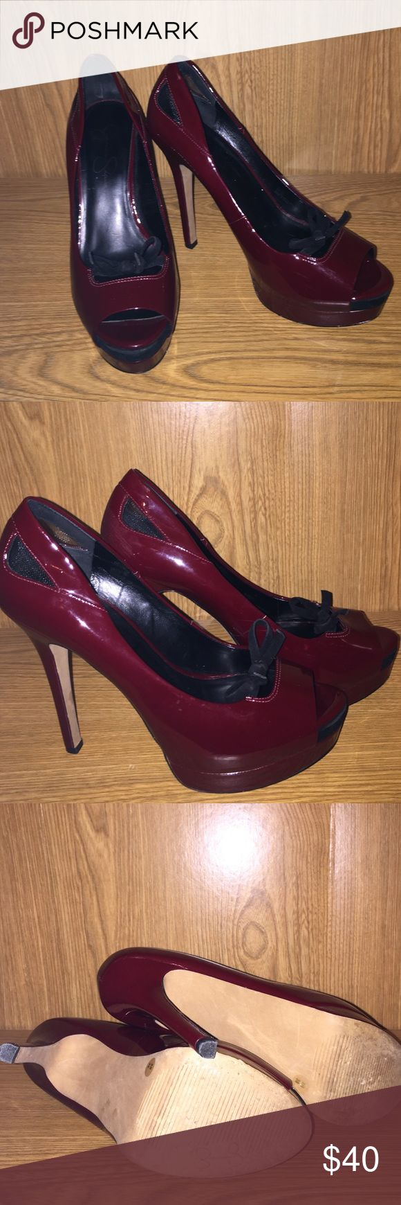 💥TONIGHT ONLY💥 SEXY Jessica Simpson heels! Great condition Jessica Simpson deep red heels with black bows! Jessica Simpson Shoes Heels