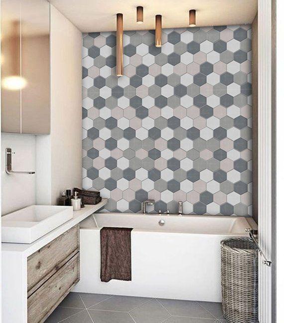 Kitchen And Bathroom Splashback Removable Vinyl Wallpaper Hexa Smoke Peel Stick Bathroomsplashback Kitchen And Bathroom Splashback Removable Vinyl Wa