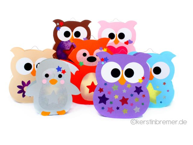 Eule, Fuchs und Pinguin Laternen für den Schneideplotter ♥ von kerstinbremer.de. So awesome! Owl, fox and penguin lantern ♥ #cutfile #svg #diy